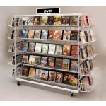 (White) DVD Display Rack | 20 Shelf | Grid Island Display